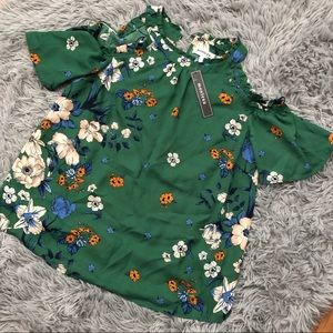 Brand new green flowered blouse